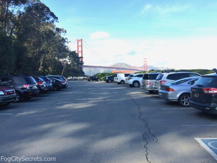 View of parking lot at Crissy Field, San Francisco