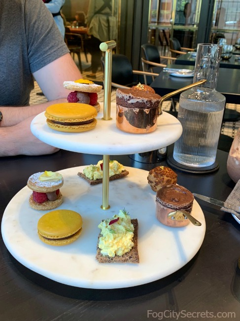 Assortment of desserts in Dandelion's  chocolate tea