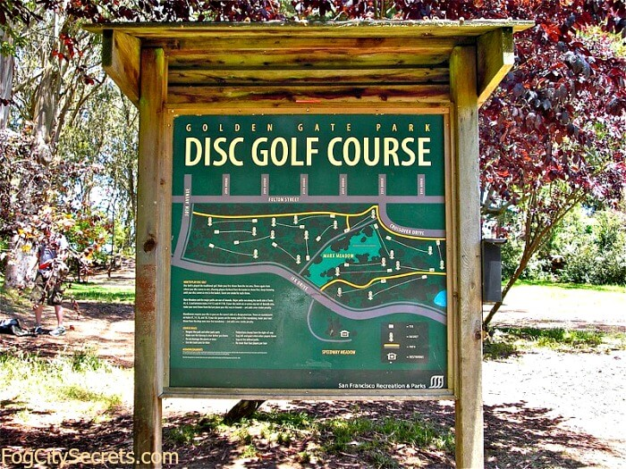 Sign showing map of disc golf course in Golden Gate Park.