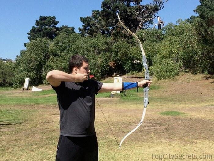 Drawing a bow, Golden Gate Park archery range