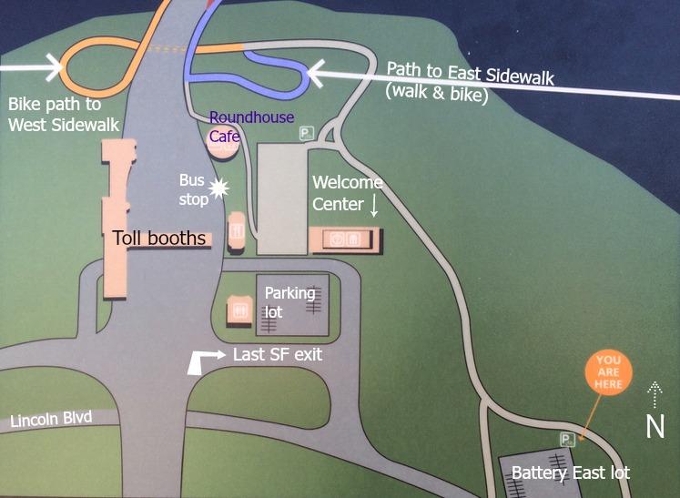 Map of east and west sidewalk entrances on Golden Gate Bridge