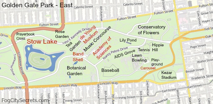 Map of Golden Gate Park, eastern half, attractions labeled