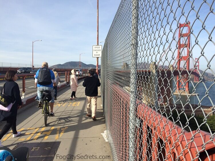 Cyclists and pedestrians on the east sidewalk,  Golden Gate Bridge.