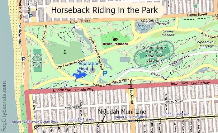 Map of horseback riding area in Golden Gate Park, Equitation Field