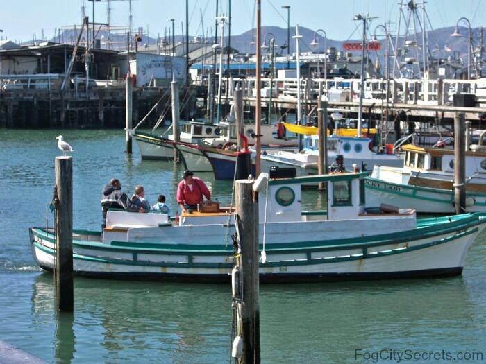 Fishing boat returning to marina at Fisherman's Wharf SF