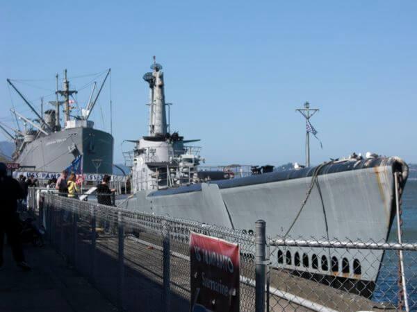 SS Jeremiah O'Brien liberty ship and USS Pampanito submarine at Fisherman's Wharf SF