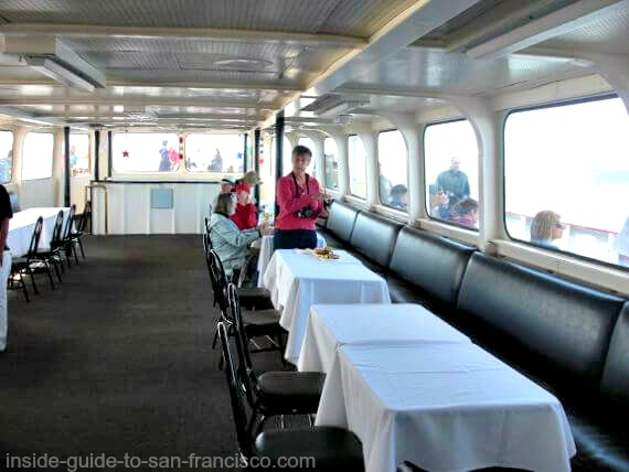Banquet room on Red and White ferry, Fleet Week cruise in San Francisco