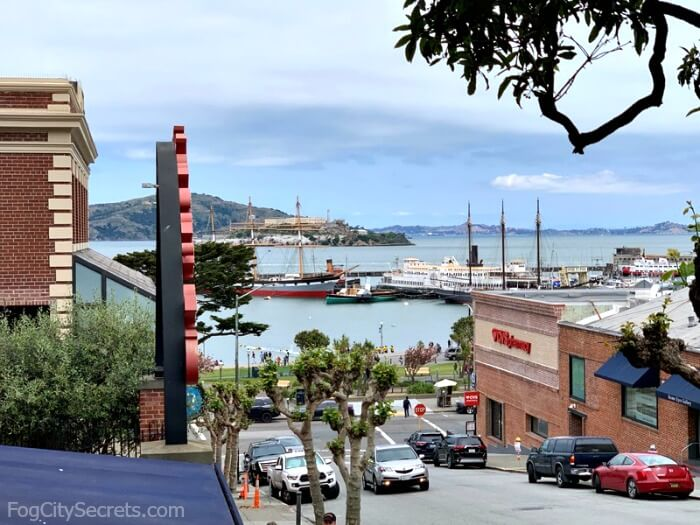 View of Alcatraz, Angel Island, and Fisherman's Wharf from Ghirardelli Square