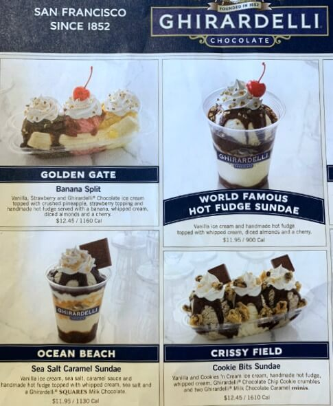 Ghirardelli ice cream sundae menu