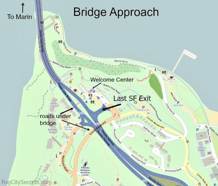 Map showing approach to Golden Gate Bridge, south side, and last exit.