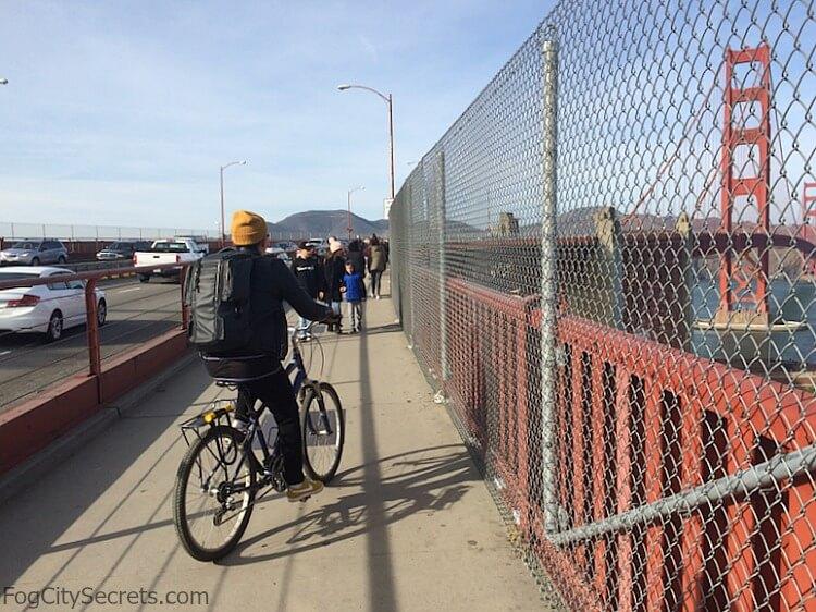 Man riding a bike on the East Sidewalk, Golden Gate Bridge