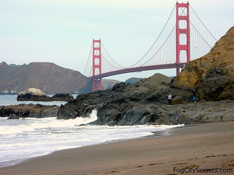 View of Golden Gate Bridge from eastern end of Baker Beach
