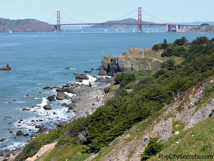 View of Golden Gate Bridge from Lands End Coastal Trail.