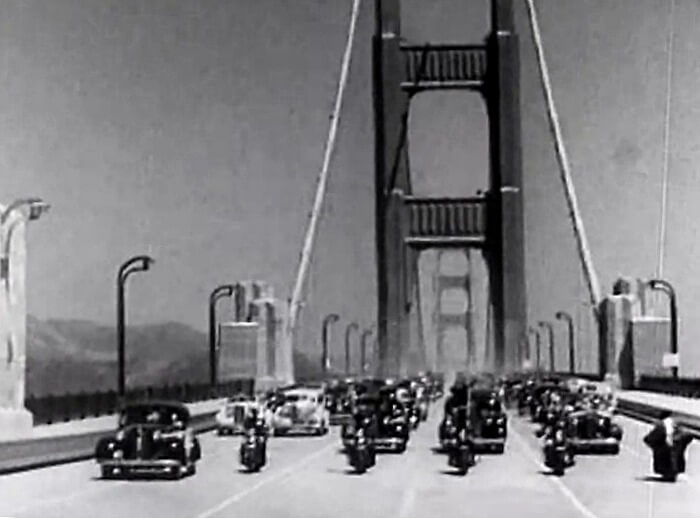 Photo of the first cars over the Golden Gate Bridge in 1937