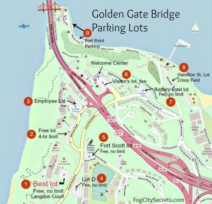 Map of all nine Golden Gate Bridge parking lots in San Francisco.