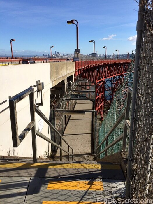 Pedestrian underpass, connects two Golden Gate Bridge parking lots.