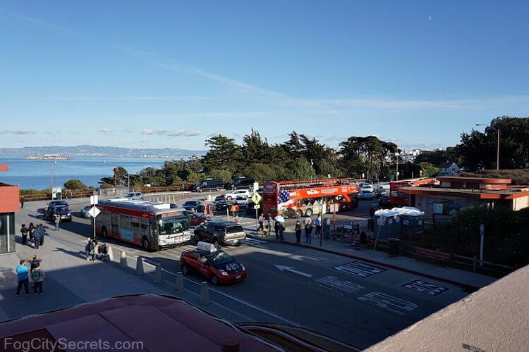 Buses in parking lot of Welcome Center, Golden Gate Bridge