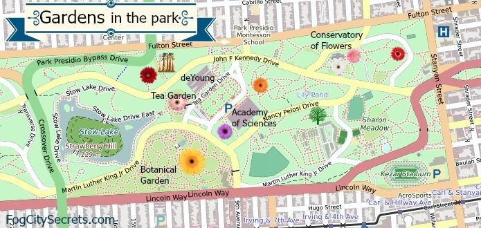 Map of gardens in Golden Gate Park