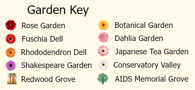 Key to the map of the gardens in Golden Gate Park