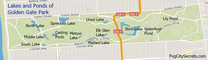 Map of lakes and ponds in Golden Gate Park