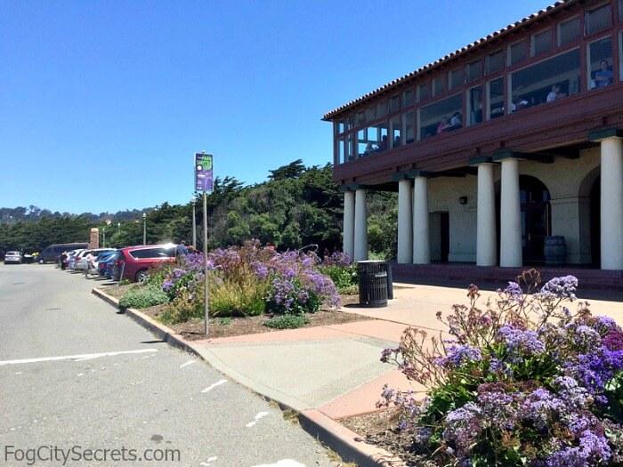 Shuttle stop in front of Beach Chalet, Golden Gate Park