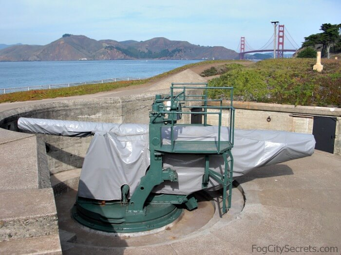 Disappearing gun, Battery Chamberlin, Baker Beach SF