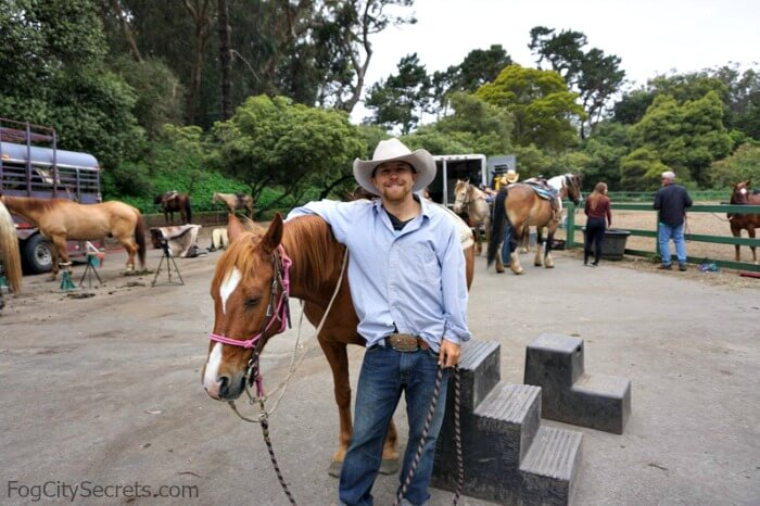 Horseback riding in Golden Gate Park, our guide, Dylan