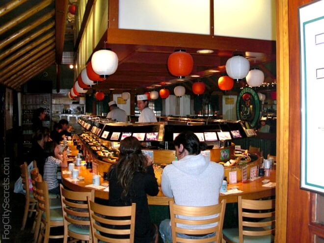 sushi boats at isobune restaurant in japantown
