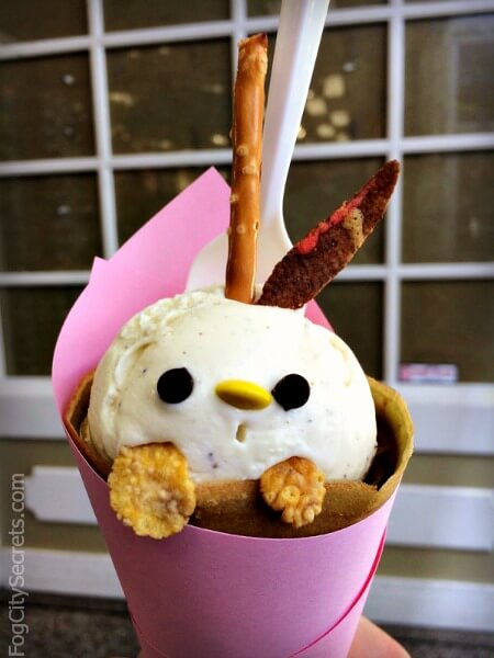 cute animal crepe from belly good cafe in san francsico japantown