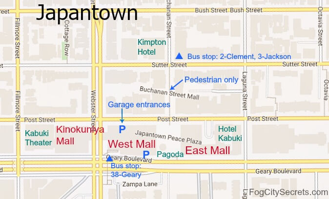 map of japantown in san francisco, showing japan center,hotels, and bus stops