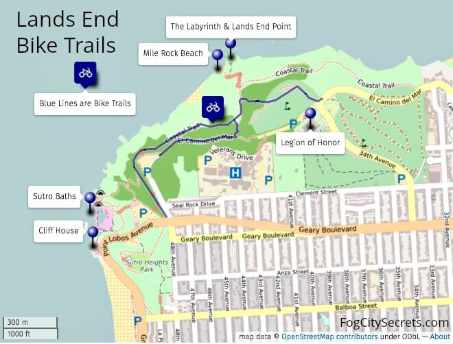 Bike Trail Map for Lands End SF