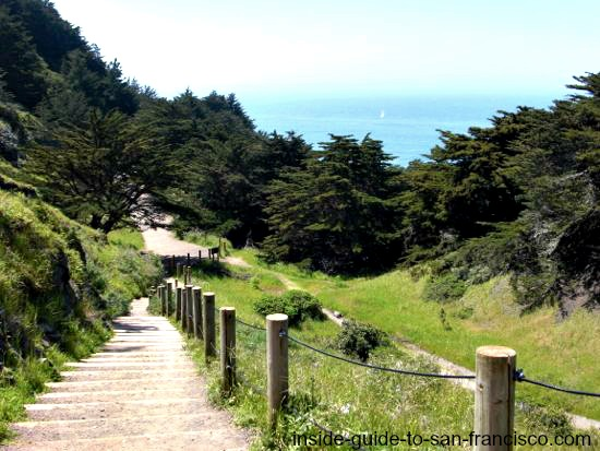Steep stairs on Lands End Coastal Trail