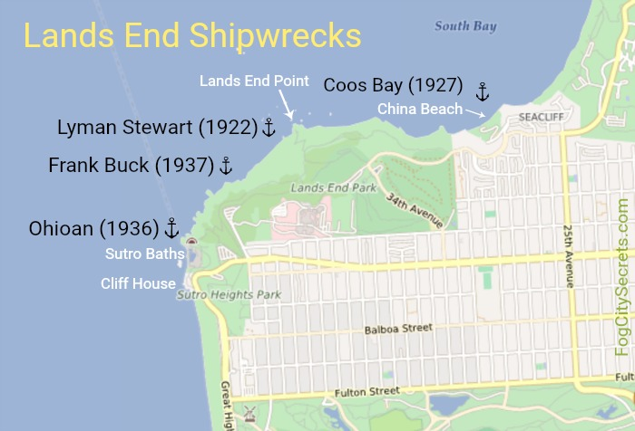 Map of Lands End SF Shipwreck Locations