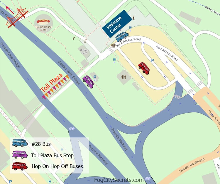 Map of bus stops near the Golden Gate Bridge