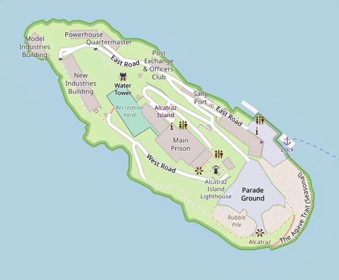 Map of Alcatraz Island