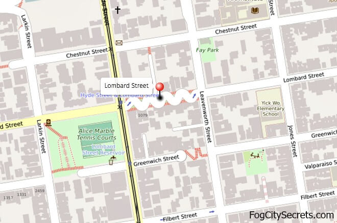 Map of Lombard Street close up