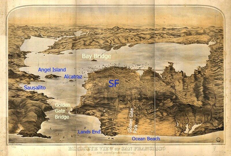 Hand-drawn map of San Francisco Bay in 1876