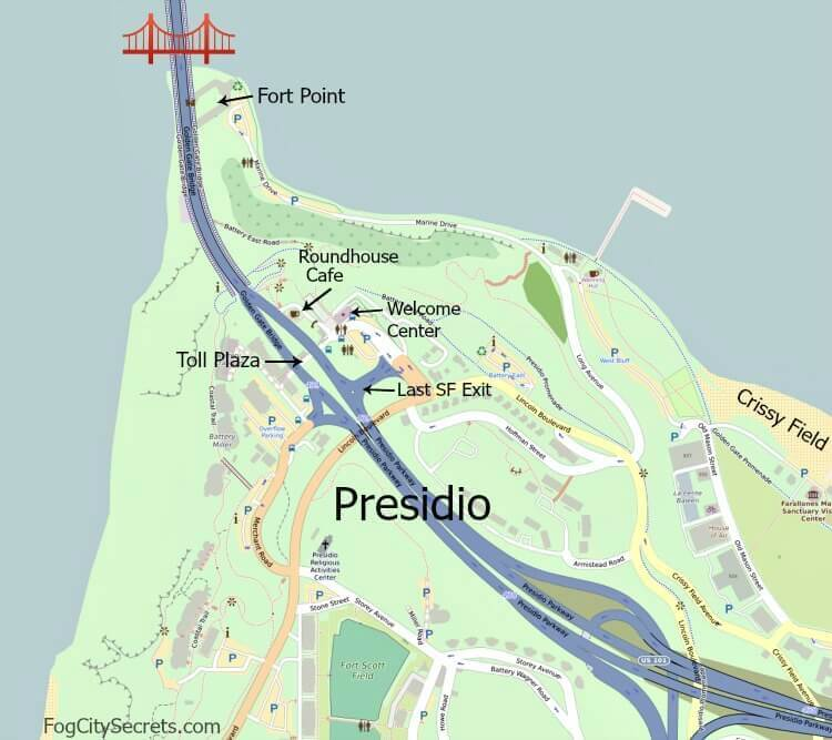 Map of southern end of the Golden Gate Bridge, Welcome Center and Toll Plaza.