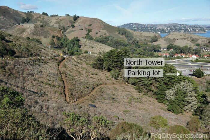 Path from North Tower parking lot at Golden Gate Bridge, up to Conzelman Road.