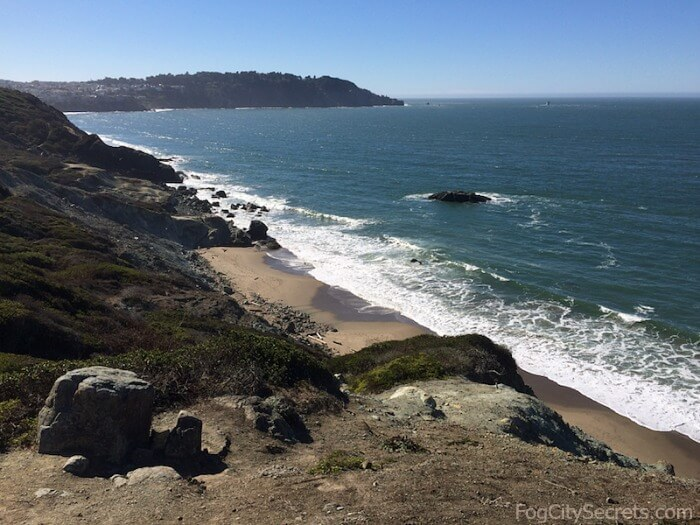 View of Marshall's Beach from Batteries to Bluffs Trail, San Francisco Presidio
