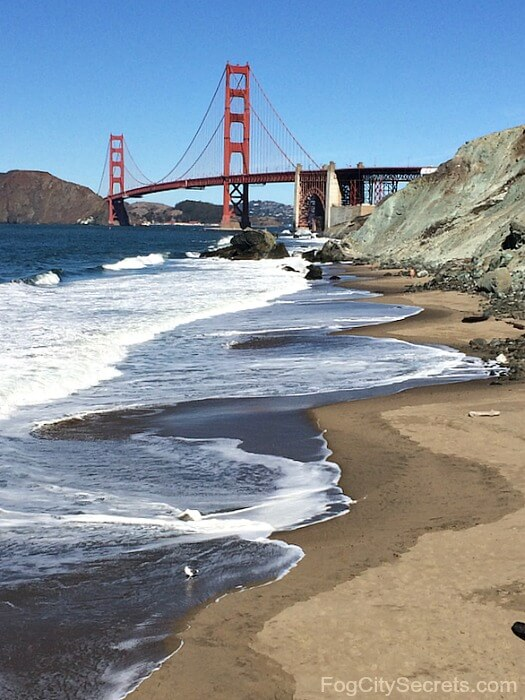 Marshall's Beach in San Francisco, view of Golden Gate Bridge