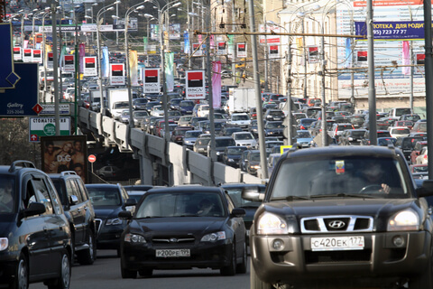 Cars in a traffic jam in Moscow, Russia.