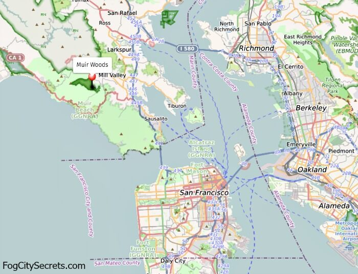 Muir Woods and Bay Area Map