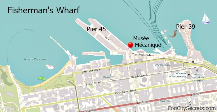 Map of Fisherman's Wharf and Musee Mecanique