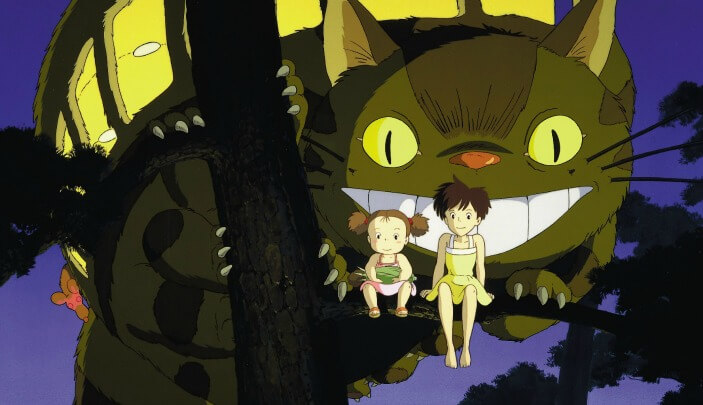 Cat bus and children sitting in a tree, from My Neighbor Totoro