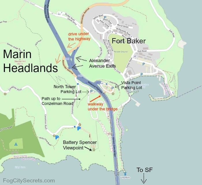Map of area at northern end of the Golden Gate Bridge, exits and parking lots.