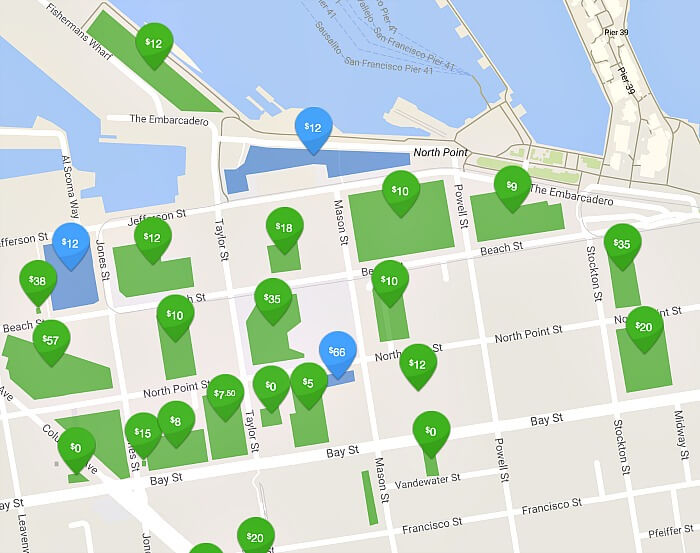 Map of parking garages in Fisherman's Wharf, from ParkMe parking app.