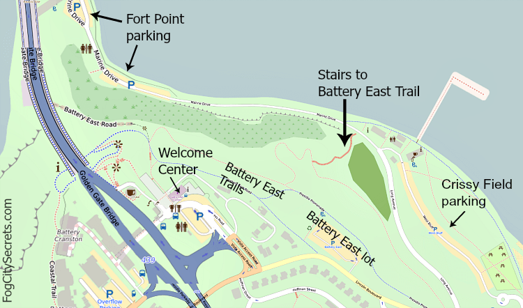 Map showing route to Golden Gate Bridge from parking lots at Fort Point and Crissy Field.