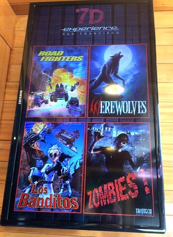 Poster for four rides at 7D Experience on Pier 39