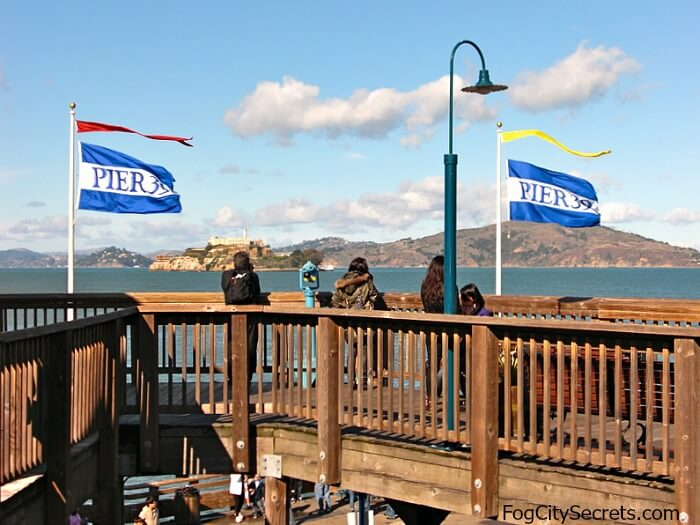 View of Angel Island and Alcatraz from end of Pier 39